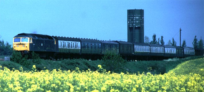 Class 47 on an up parcels train at Abbots Ripton