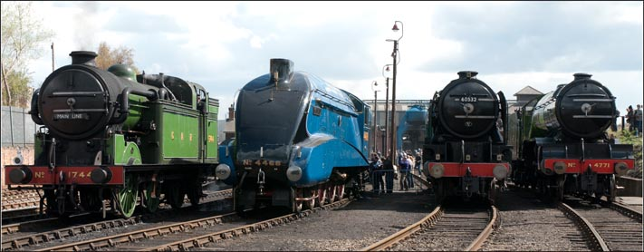 GNR N2 1744 and LNER A4 4468 and LNER A2 60532 and LNER 4771 at Barrow Hill Shed