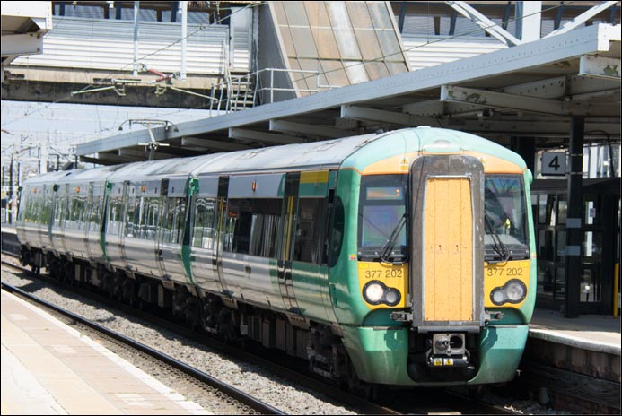 Class 377 202 in Platform 4 on a Down train on the 22nd of July 2014