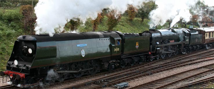 34081 92 Squadron and Bulleid. 34028 Eddystone