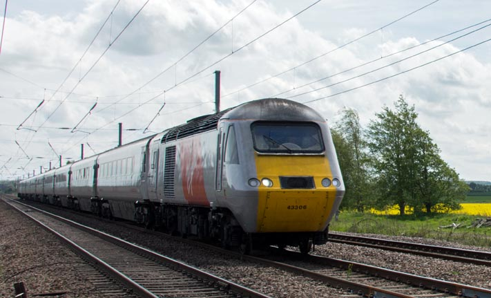 Virgin East Coast HST on the down fast at Conington