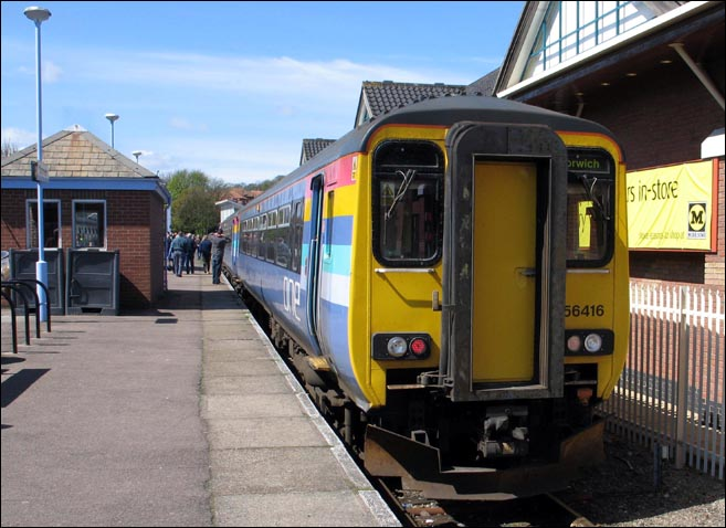 One class 156416 with a train to Norwich at Cromer station in 2006.
