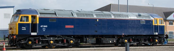 Class 47843 is in Riviera Trains blue