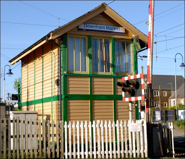 Downham Market signal box from the end near the road.