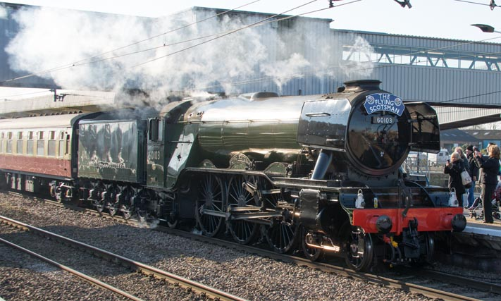Flying Scotsman at Peterborough with the The Inaugural Run from Kings Cross to York on the 25th of February 2016