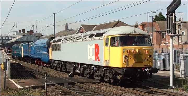 DCR class 56 311 and A4 Mallard and class 55019 at Grantham