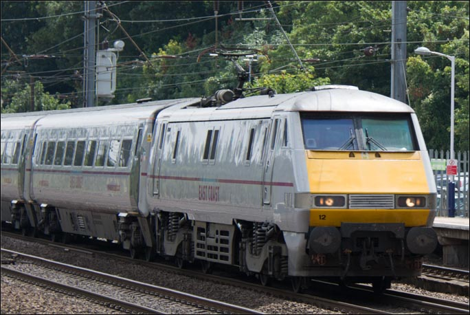 East Coast class 91112 on the down fast at Hitchin station on the 1st of August 2014