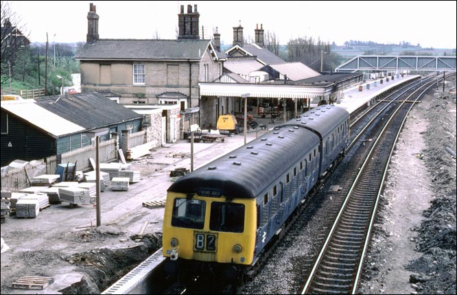 DMU during the Alterations to Huntingdon station in BR days