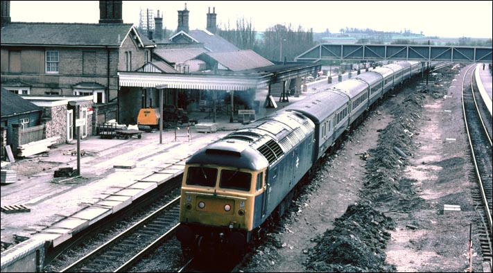 Class 47 on the down fast during the alteration to Huntingdon station