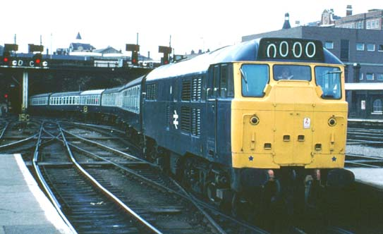 class 31 in BR blue comes into Kings Cross