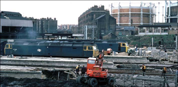 Two class 47s in Kings Cross with work in full swing