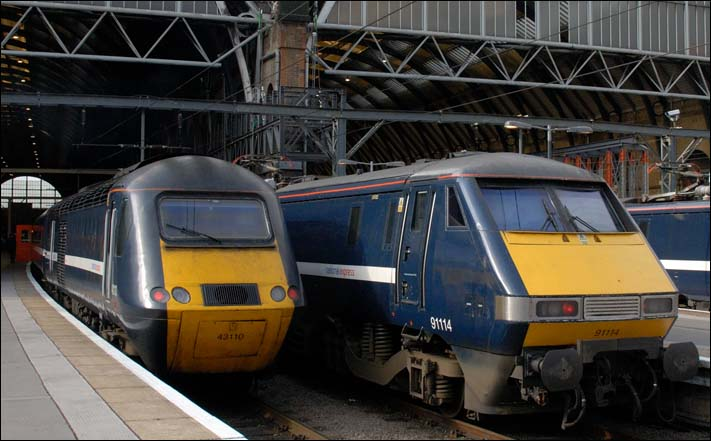 National Express East Coast HST 43110 and NXEC 91114 at Kings Cross in 2008