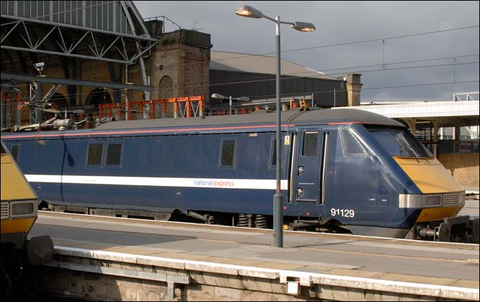 NXEC class 91129 at Kings Cross
