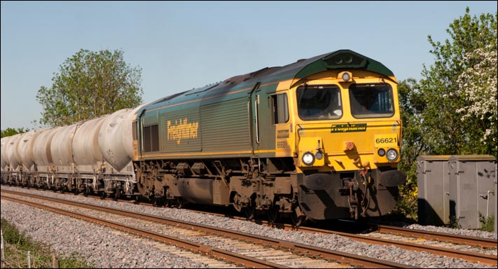 Freightliner class 66621 at Langham on the 25th of May 2012