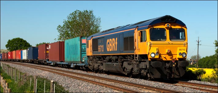 GBRf class 66713 at Langham on the 25th of May 2012
