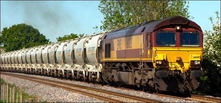 Class 66003 at Langham on the 25th of May 2012