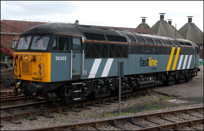 Class 56 302 in FastLine Freight  colours at the Mid-Norfolk's Diesel gala on Friday 23rd September in 2011