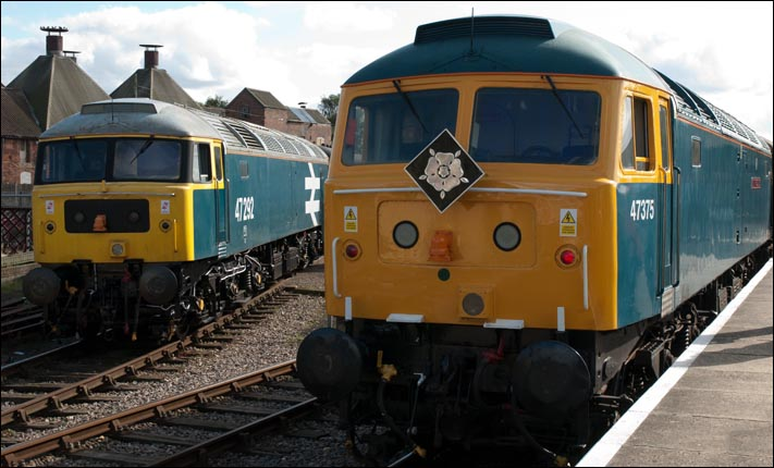 Class 47s 47292 and 47375 at Dereham Station during the class 47 gala