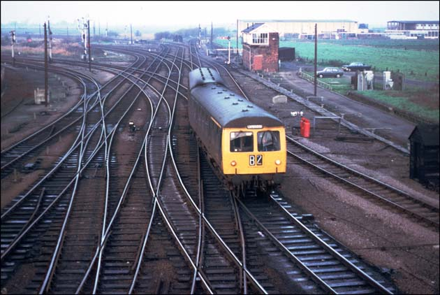 Whitemoor yard in early 1970s with a Cambridge DMU from Doncaster