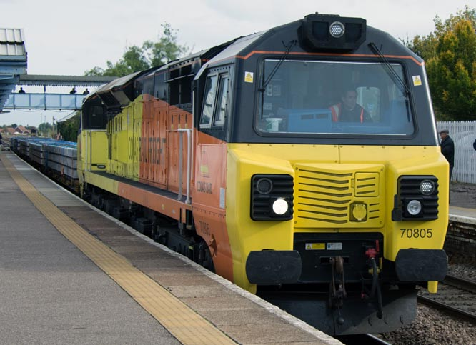 Colas Rail class 70805 at March station in October 2014