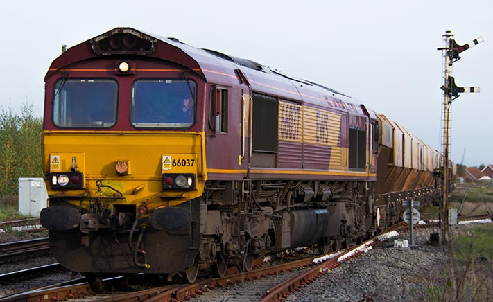 Class 66037 coming out of March South Yard on the 16th of October 2014