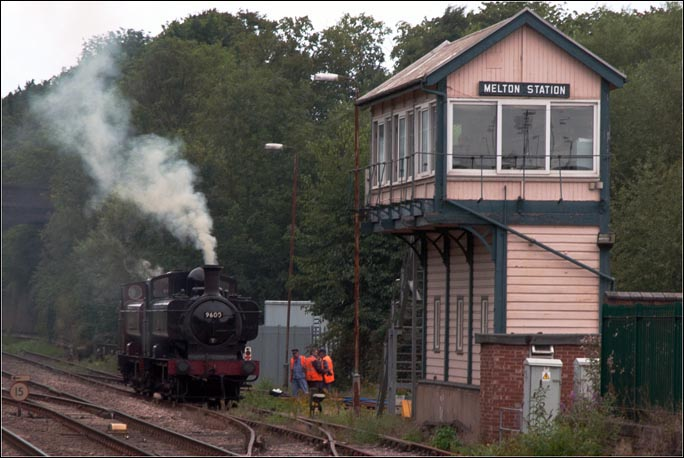 GWR class 57XX pannier tank locomotives 9600 and 7752 (LT94) near to Melton Station signal box