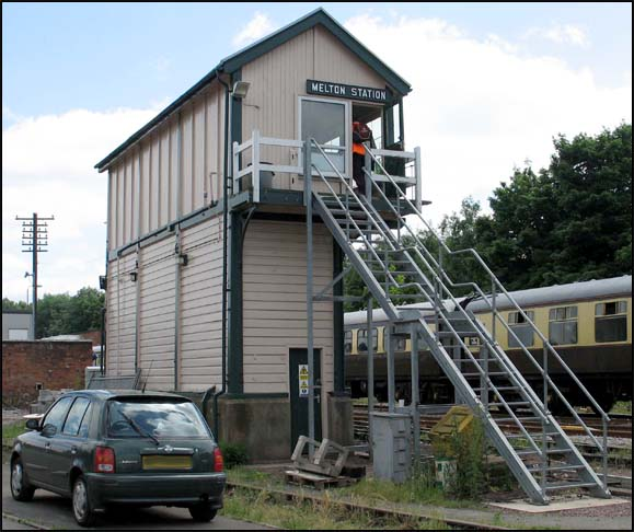 Melton station signal box has had new steel steps fitted.