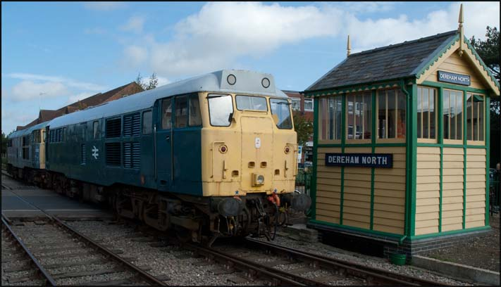Two class 31s light engines next to the Dereham North box