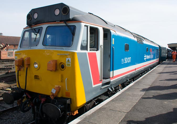 Class 50017 'Royal Oak' in Network South East colours