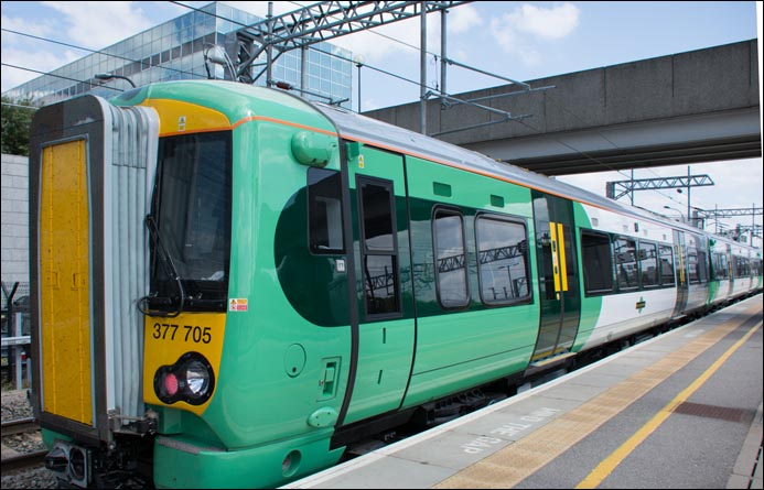 Southern class 377 705 in the bay at  Milton Keynes Central station on the 22nd of July 2014