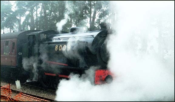 Austerity 0-6-0ST at Holt in The Fog on the NNR