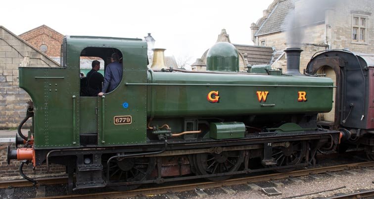 Great Western 0-6-0ST in Wansford station on the 7th March 2020