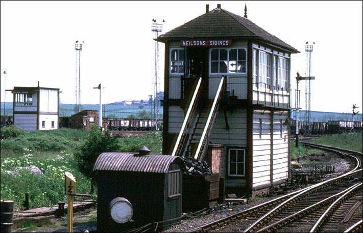Neilsons Sidings signal box was at the Kettering end of the large goods yard at Wellingborough