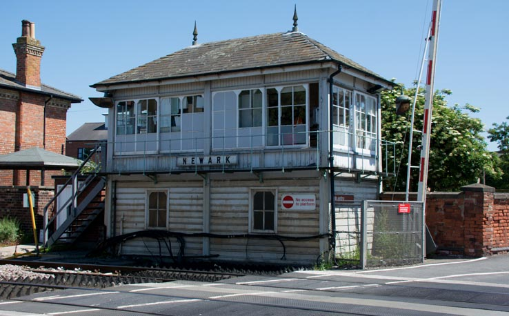 Newark signal box at Newark Castle station in June 2015