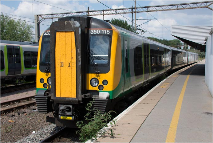 London Midland class 350 115 in Northamton railway station on Thursday 24th of July 2014