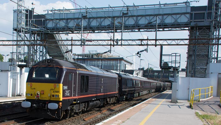 Class 67005  was on the rear of the The Royal Train at Northamton station on Thursday 24th of July 2014.