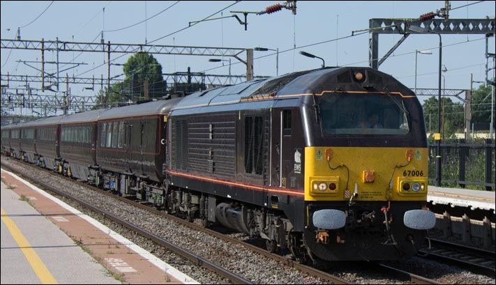 Class 67006 on the The Royal Train  at Northamton station on Thursday 24th of July 2014