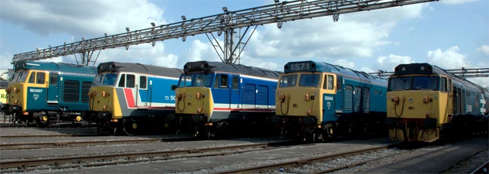 Five class 50s at Old Oak Common