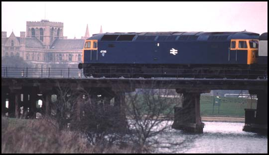 class 47 over the old coarse of the river Nene at Peterborough from the Standground side