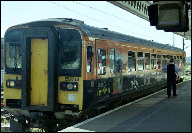 Anglia class 153314 in platform 5a at Peterborough station.