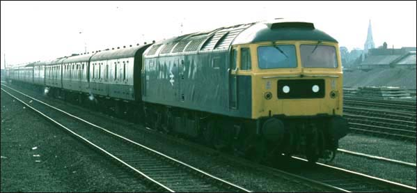Class 47 at site of the closed Peterborough East station
