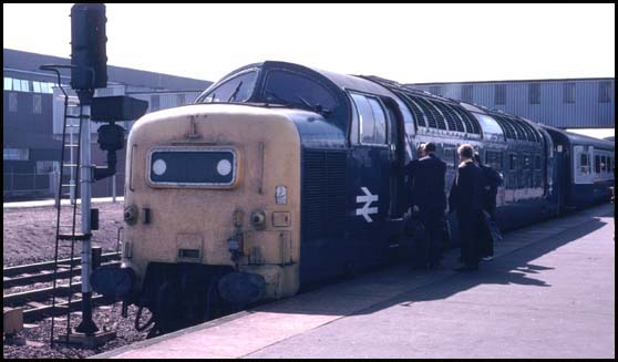 Class 55 Deltic in platform four at Peterborough