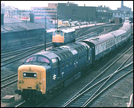 Class 55 Deltic out of Platform 3 in BR days at Peterborough