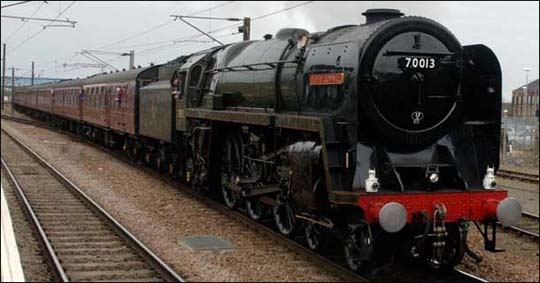 70013 Oliver Cromwell at Peterborough in 2009.