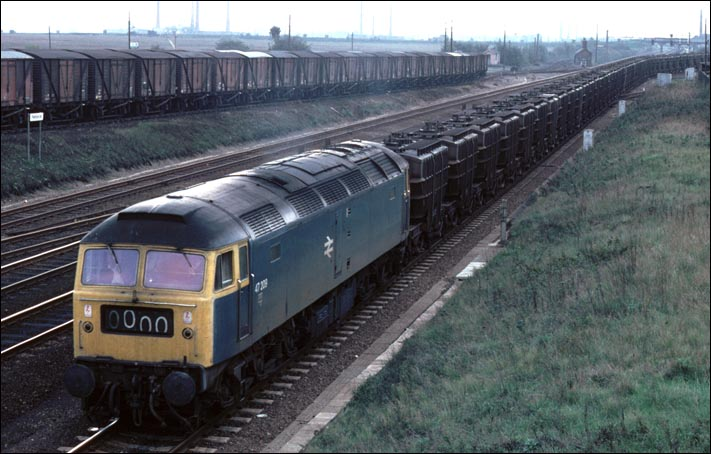 Class 47 on a Fly-ash train at Fletton Junction