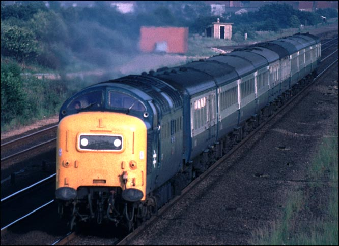 Class 55 Deltic on a down train  at Werrington