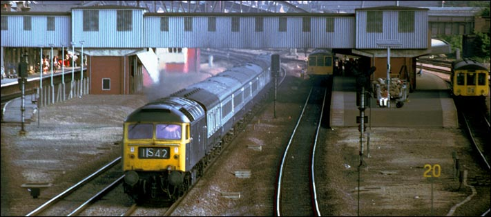 class 47 on a down train at Peterborough on the down fast