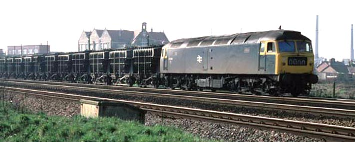 A Class 47 returns to the ECML with Flyash train after discharging its load