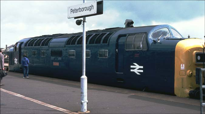 Peterborough station with a Deltic in platform 4