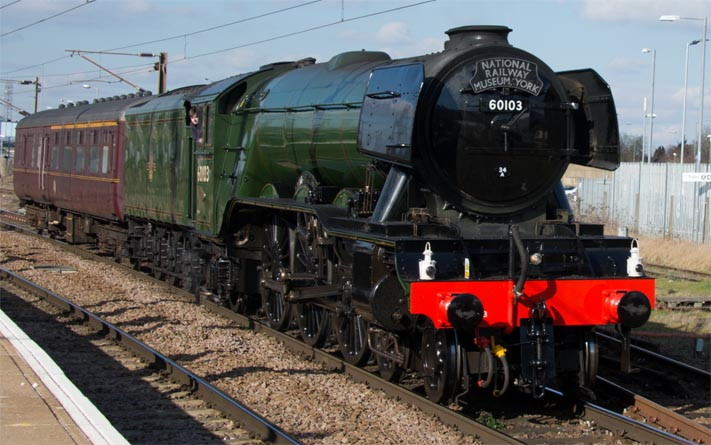 A3 60163 The Flying Scotsman at Peterborough coming into platform 1